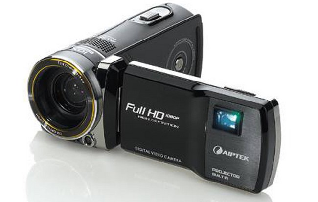 Aiptek projectorcam c25 compact camcorder with full hd for Smallest full hd projector