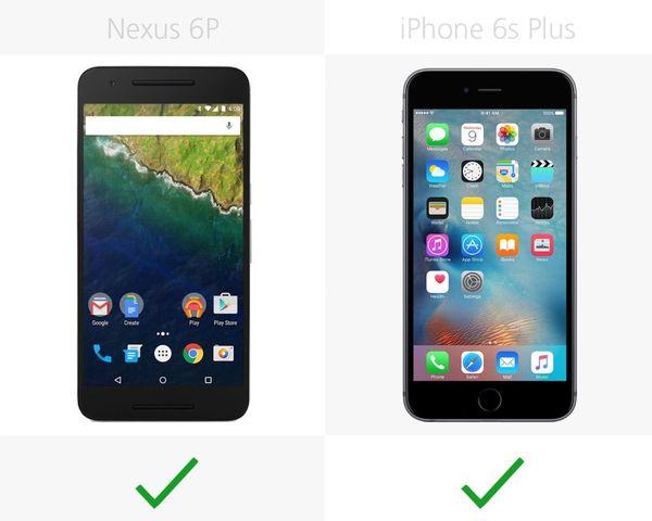 Compare smartphones: Nexus 6 P and iPhone 6s Plus