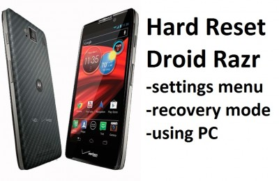 Hard Reset Droid Razr: settings menu, recovery mode and using PC