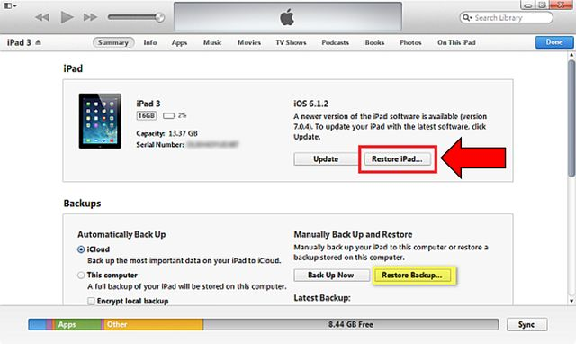 Hard reset iPad 3: using Settings and iTunes