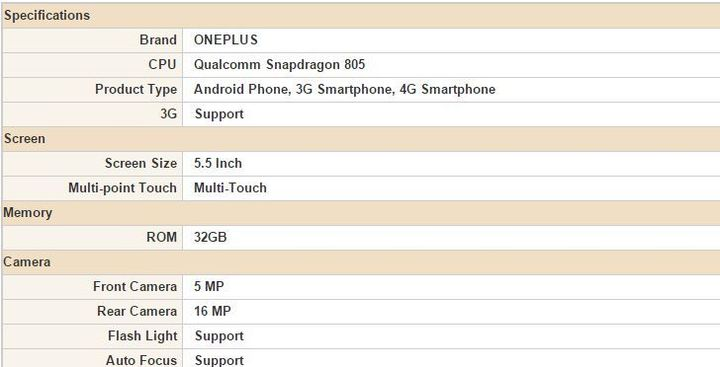 Became known specifications OnePlus Two