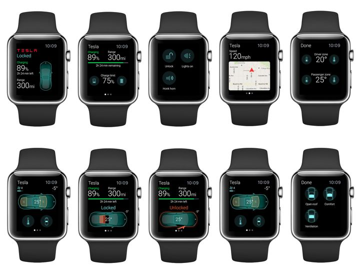New Management application Tesla Model S with Apple Watch