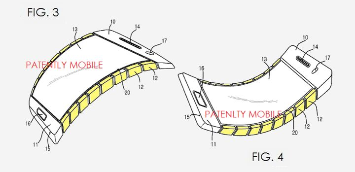 Samsung received a patent for flexible smartphone