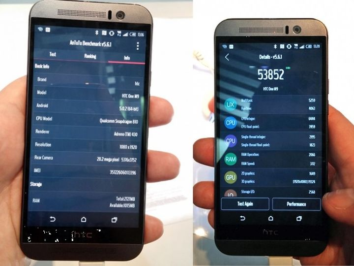How many points are scored HTC One M9 in the test AnTuTu?