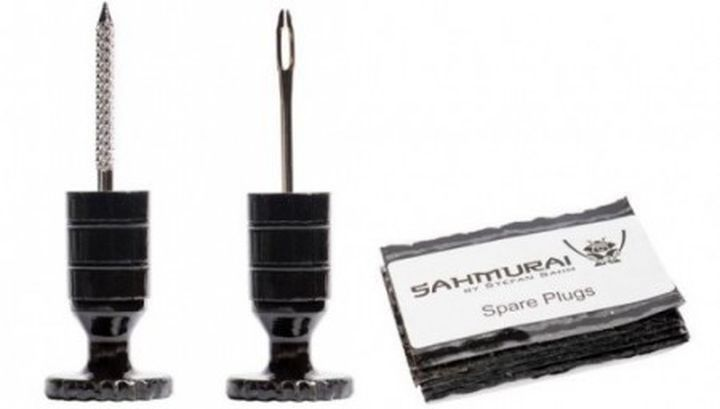 "Sahmurai Sword plugs holes in tubeless bicycle tires ""worms"""
