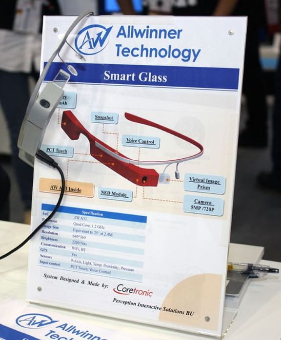 "Allwinner showed an analogue of ""smart"" glasses Google Glass"