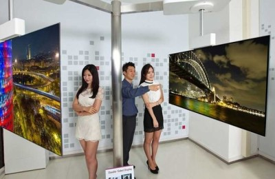 Wallpaper - new curved 2-display TV from LG