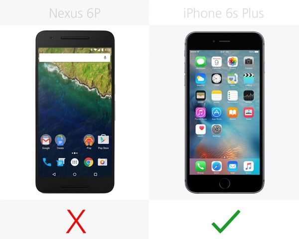 Compare smartphones: Nexus 6 P and iPhone 6s Plus