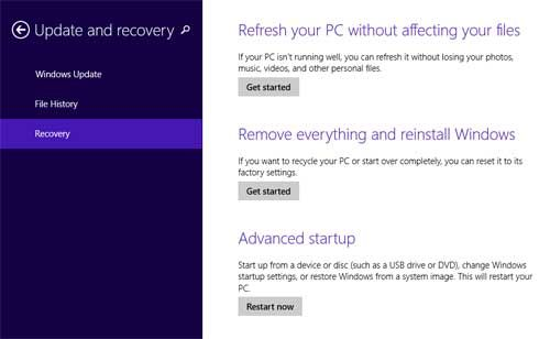 Hard Reset Venue 8 Pro: reset Windows 8.1