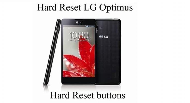 Hard Reset LG Optimus: Hard Reset buttons and Settings menu