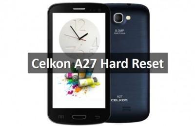 Celkon A27 Hard Reset: Clear Flash